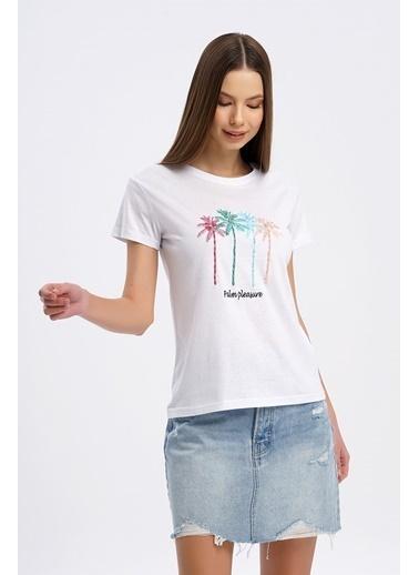 Nismia Renkli Palmiye Nakışlı Işlemeli Basic Tshirt Beyaz